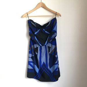 Express geographic print strapless dress